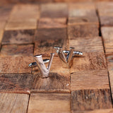 "Initials ""A-Z"" Personalized Polished Stainless Steel Men's Classic Cuff Link Cufflink with Wood Box - Rion Douglas Gifts - 24"