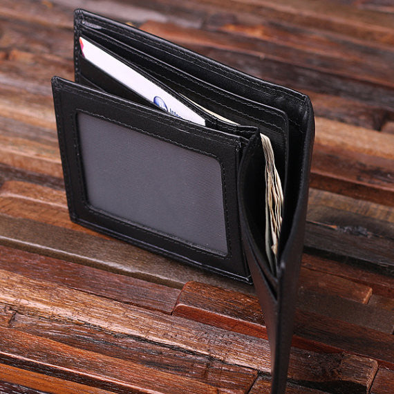 Personalized Valentine's Day Engraved Men's Leather Wallet Black or Brown w/Metal Gift Card & Wood Box - Rion Douglas Gifts - 6