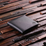 Engraved Monogrammed Men's Leather Wallet - Black or Brown with Wood Box - Rion Douglas Gifts - 3