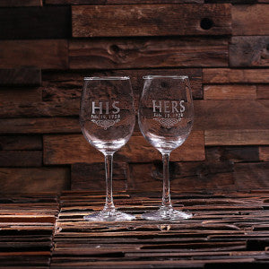 His & Her Wine Glass Set with Wood Box - Rion Douglas Gifts - 2