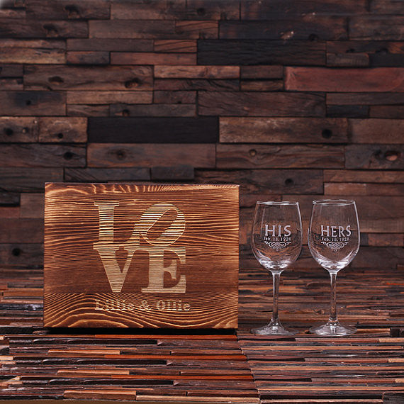 His & Her Wine Glass Set with Wood Box - Rion Douglas Gifts - 1