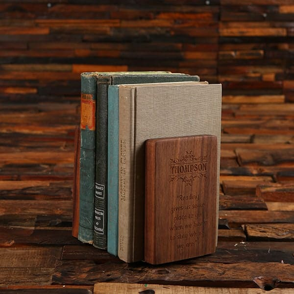 Personalized Custom Engraved Black Walnut Wood & Brass Bookends
