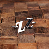 "Initials ""A-Z"" Personalized Polished Stainless Steel Men's Classic Cuff Link Cufflink with Wood Box - Rion Douglas Gifts - 28"