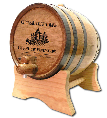 Castle Vineyard Personalized Oak Barrel - Rion Douglas Gifts - 1