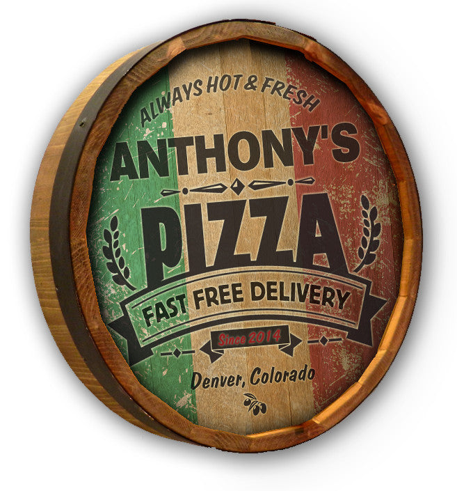 Pizza - Personalized Color Quarter Barrel Sign - Rion Douglas Gifts - 1