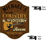 Country & Western Room Personalized Wooden Sign - Rion Douglas Gifts - 2