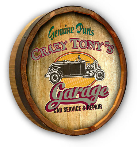Tony's Garage - Personalized Color Quarter Barrel Sign - Rion Douglas Gifts - 1