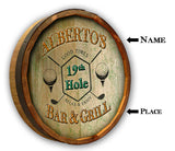 19th Hole Bar & Grill - Personalized Color Quarter Barrel Sign - Rion Douglas Gifts - 2