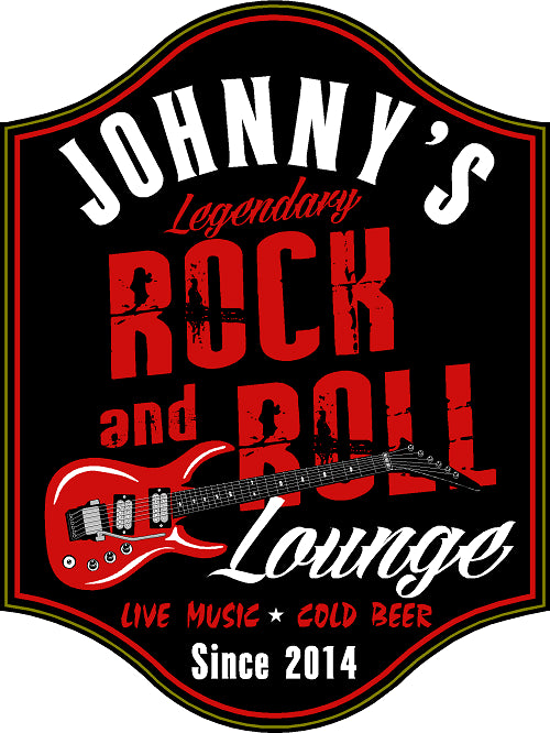 Rock & Roll Lounge Personalized Wooden Sign - Rion Douglas Gifts - 1