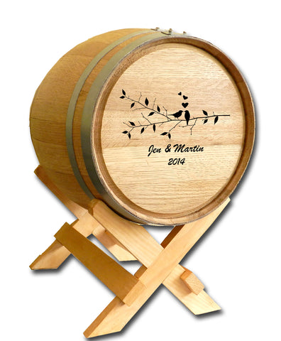 Birds Wedding Barrel™ Card Holder Oak Barrel