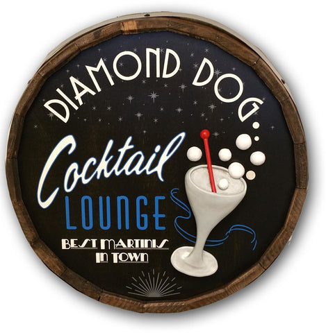 Cocktail Lounge - Personalized Quarter Barrel Sign - Rion Douglas Gifts - 1