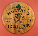 Irish Pub - Personalized Oak Barrel Head Sign with Shamrock Relief - Rion Douglas Gifts - 1