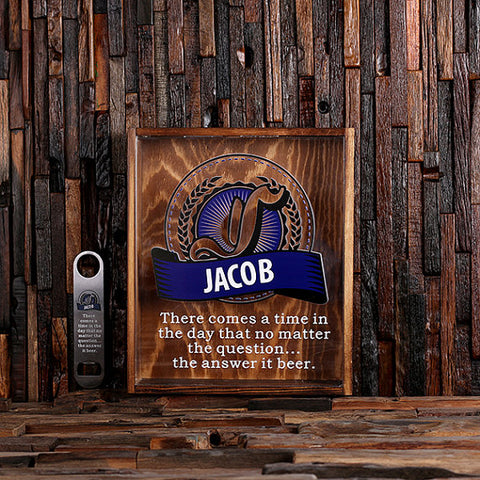 Personalized Large Beer Cap Holder Shadow Box with Bottle Opener