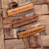 Personalized Men's Classic Wood Tie Clip Cherry Wood with Optional Wood Gift Box - Rion Douglas Gifts - 5