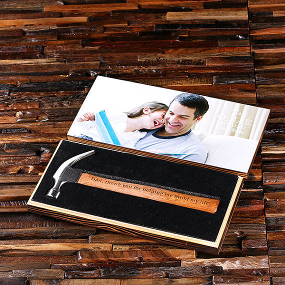 Personalized Hammer Photo with Wood Box