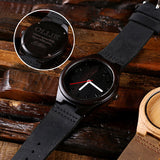 Personalized Black Wood Watch and Cufflinks with Engraved Wood Box - Rion Douglas Gifts - 2