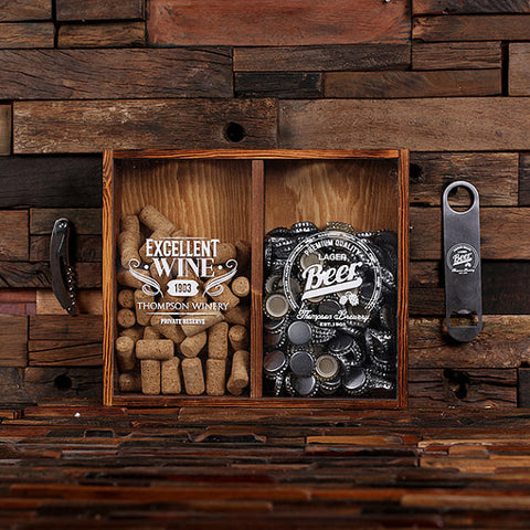 Beer Cap & Cork Holder Personalized Shadow Box - C