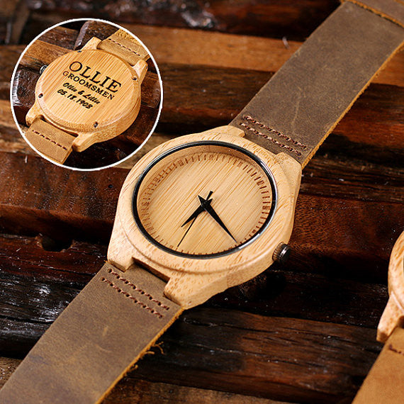 Personalized Tan Wood Watch and Cufflinks with Engraved Wood Box - Rion Douglas Gifts - 2