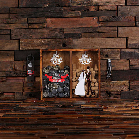 Beer Cap & Wine Cork Holder Personalized Shadow Box - H