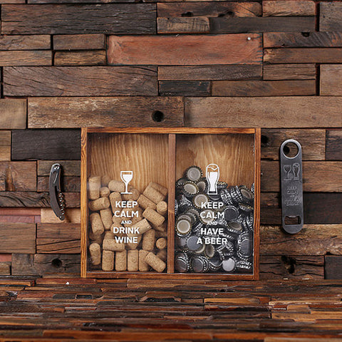 Beer Cap & Wine Cork Holder Personalized Shadow Box - G