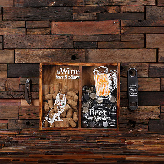 Beer Cap Amp Wine Cork Holder Personalized Shadow Box D