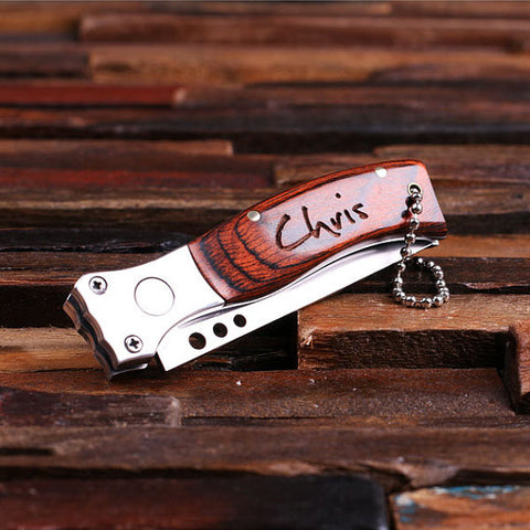 Personalized Pocket Knife – Dagger with Optional Wood Box - Rion Douglas Gifts - 1
