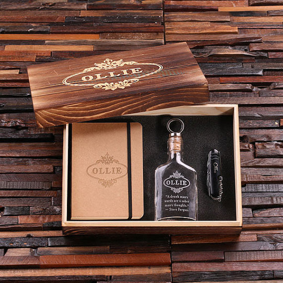 Personalized 4 pc Men's Gift Set w/Keepsake Box – Flask, Knife, Journal - Rion Douglas Gifts - 2