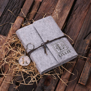 Felt Notebook Journal & Key Chain Set