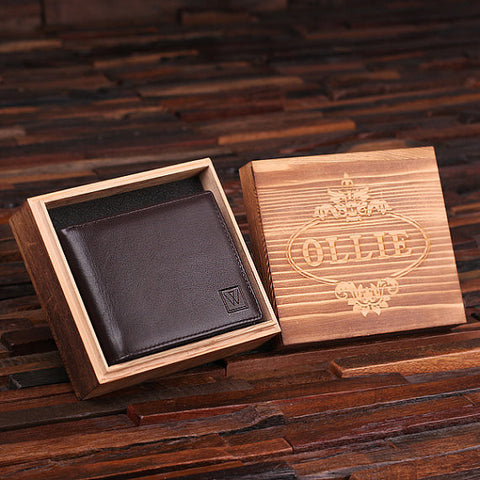 Engraved Monogrammed Men's Leather Wallet - Black or Brown with Wood Box - Rion Douglas Gifts - 1