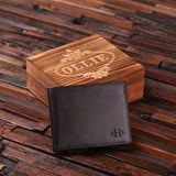 Engraved Monogrammed Men's Leather Wallet - Black or Brown with Wood Box - Rion Douglas Gifts - 2