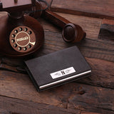 Leather Business Card Holder with Wood Gift Box - Brown or Black - Rion Douglas Gifts - 5