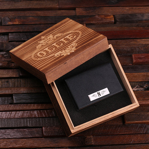 Leather Business Card Holder with Wood Gift Box - Brown or Black - Rion Douglas Gifts - 2