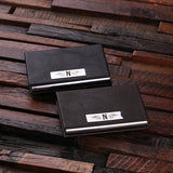 Leather Business Card Holder with Wood Gift Box - Brown or Black - Rion Douglas Gifts - 3