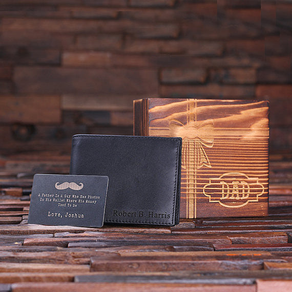 Father's Day Engraved Leather Wallet