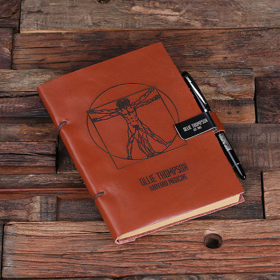 Leather Diary Sketchbook & Pen with Pen Holder - Rion Douglas Gifts - 5