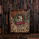 Personalized Wine Cork Holder Shadow Box with Corkscrew
