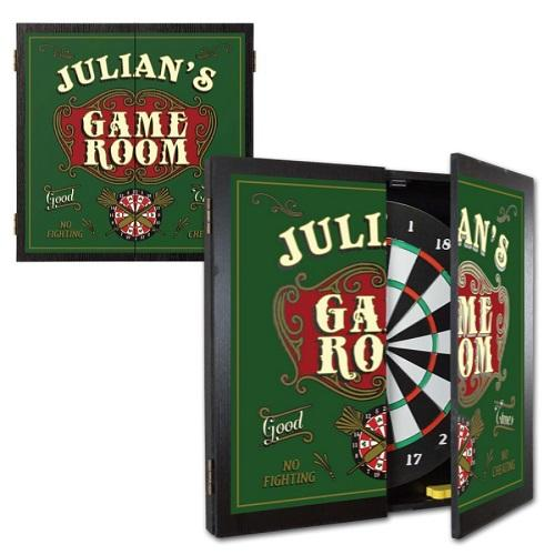 Personalized Dartboard and Cabinet