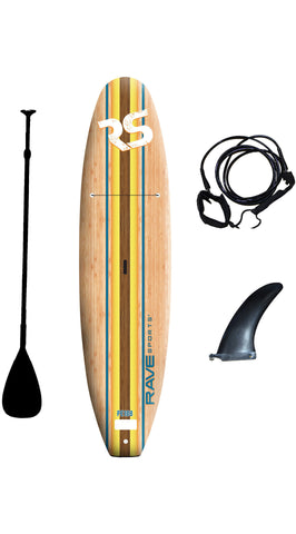 "Rave Sports 10'8"" Bamboo Soft Top Paddle Board Bundle - Paddleboard & Surf"