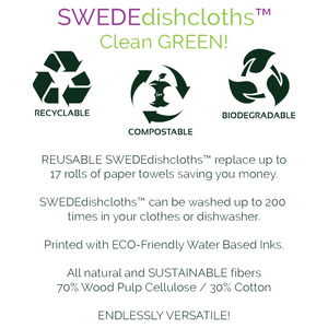 Save Water Drink Wine Set of 3 each Swedish Dishcloths | ECO Friendly Absorbent Cleaning Cloth | Reusable Cleaning Wipes