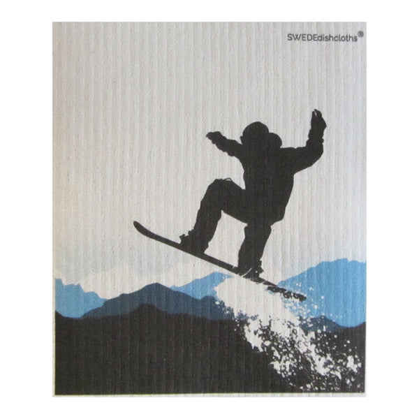 Snowboard Jumping ONE each on white Swedish Dishcloth | ECO Friendly Absorbent Cleaning Cloth | Reusable Cleaning Wipes