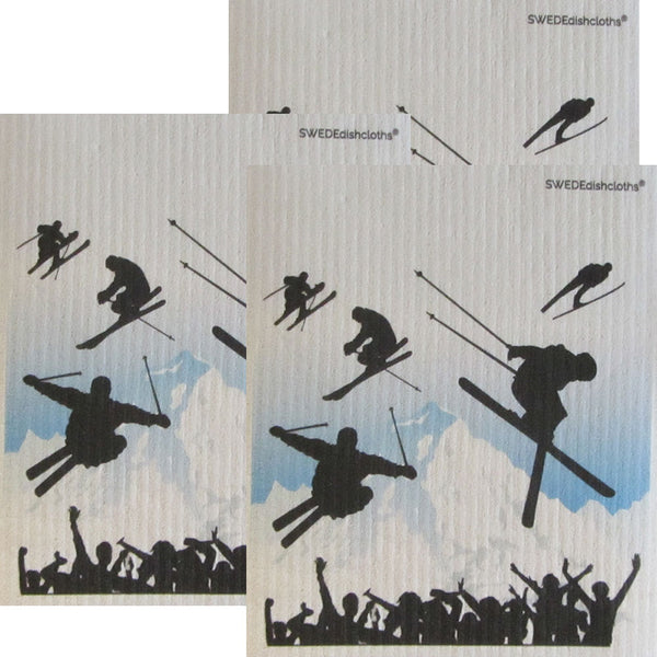 Ski Jumping Set of 3 each on white Swedish Dishcloths | ECO Friendly Absorbent Cleaning Cloth