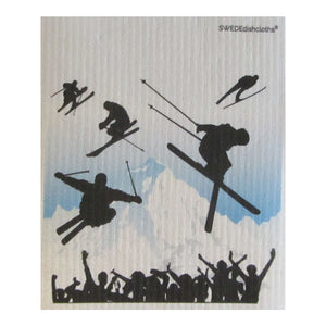 Ski Jumping ONE each on white Swedish Dishcloth | ECO Friendly Absorbent Cleaning Cloth | Reusable Cleaning Wipes