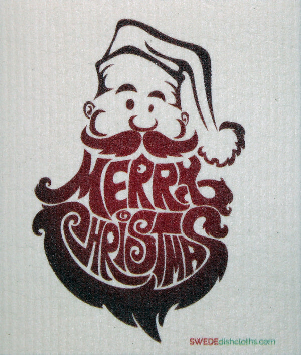 Merry Christmas Santa Beard One cloth Swedish Dishcloths | ECO Friendly Absorbent Cleaning Cloth