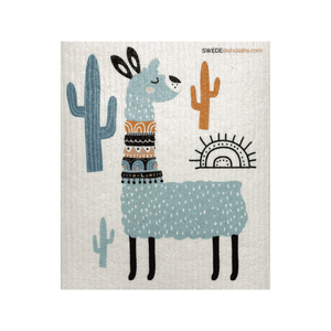Turquoise Llama One Swedish Dishcloth