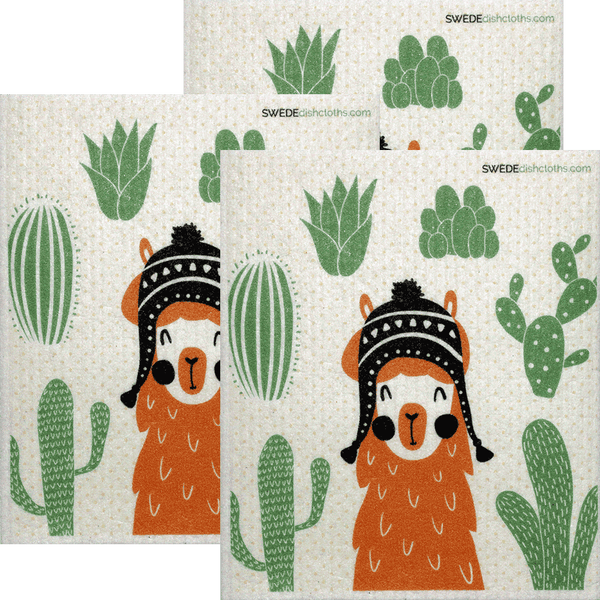 Orange Llama Set of 3 Swedish Dishcloths