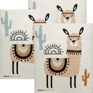 Pink Llama Set of 3 Swedish Dishcloths