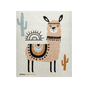 Pink Llama One Swedish Dishcloth