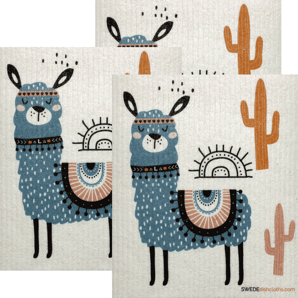 Blue Llama Set of 3 Swedish Dishcloths