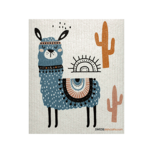 Blue Llama One Swedish Dishcloth
