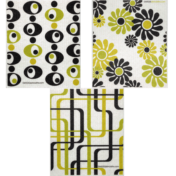 Modern Patterns Set of 3 cloths (One of each design) Swedish Dishcloths
